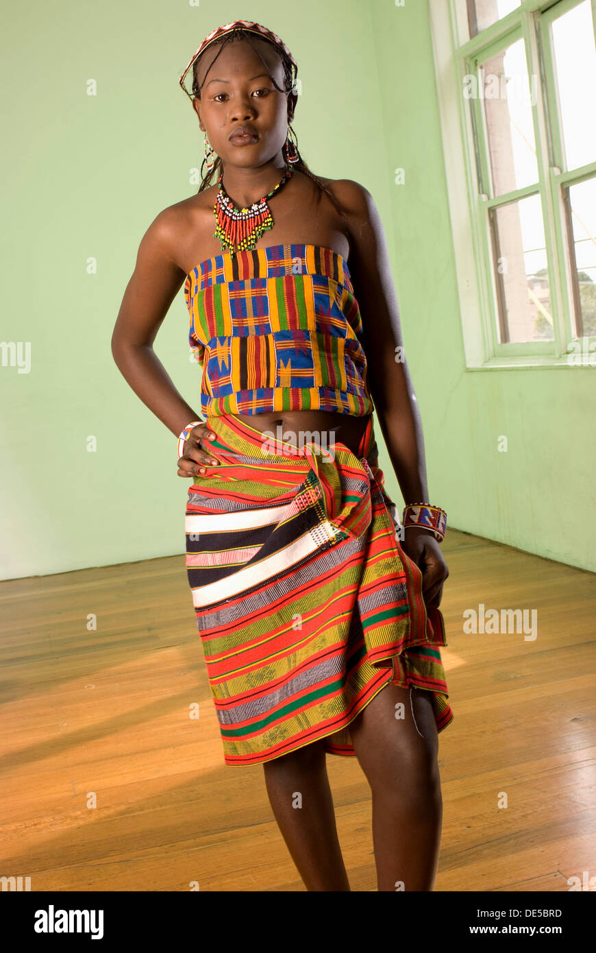 black african fashion model in mixed tribal clothes Stock ...