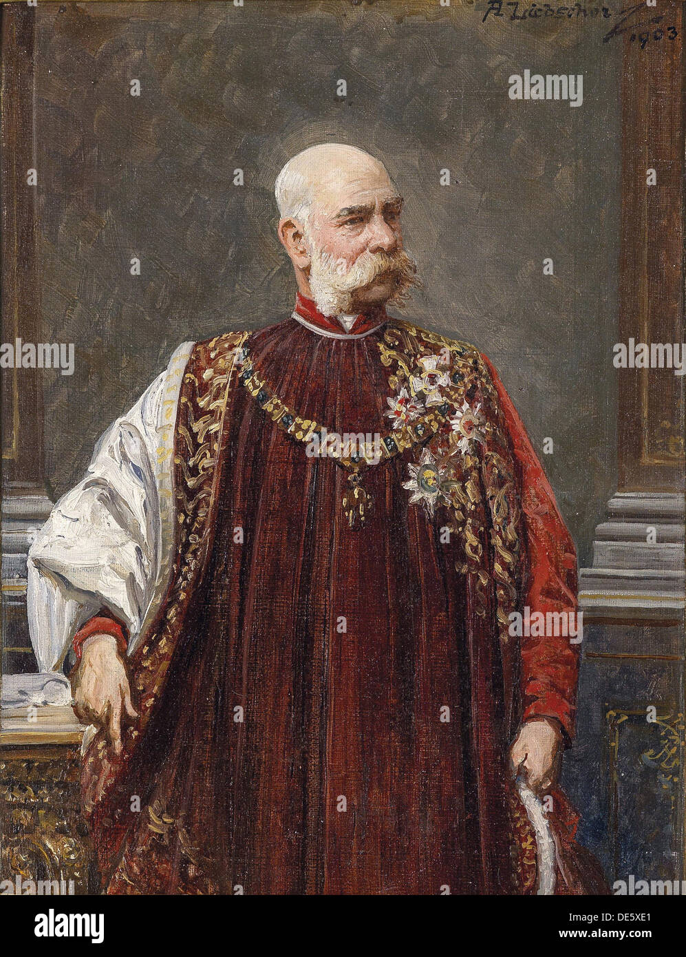 Order of the golden fleece stock photos order of the golden portrait of franz joseph i of austria as grand master of the golden fleece 1903 biocorpaavc Choice Image