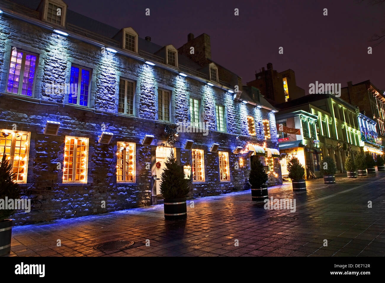 Old stone buildings at Jacques-Cartier Place Montreal Canada are lit by colorful lights during Christmas & Old stone buildings at Jacques-Cartier Place Montreal Canada are ... azcodes.com
