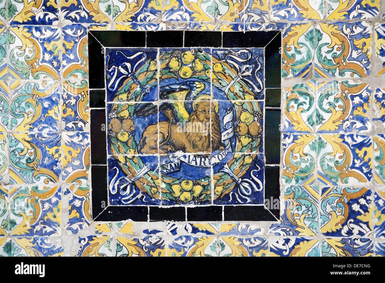Saint mark symbol on old glazed ceramic tiles fine arts museum saint mark symbol on old glazed ceramic tiles fine arts museum seville spain dailygadgetfo Gallery
