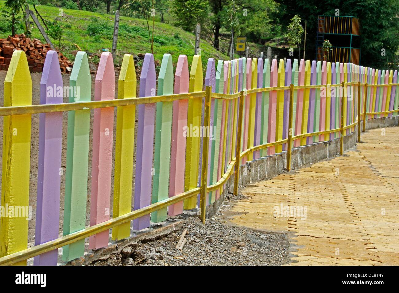 Colorful wooden compound wall in a school pune maharashtra india