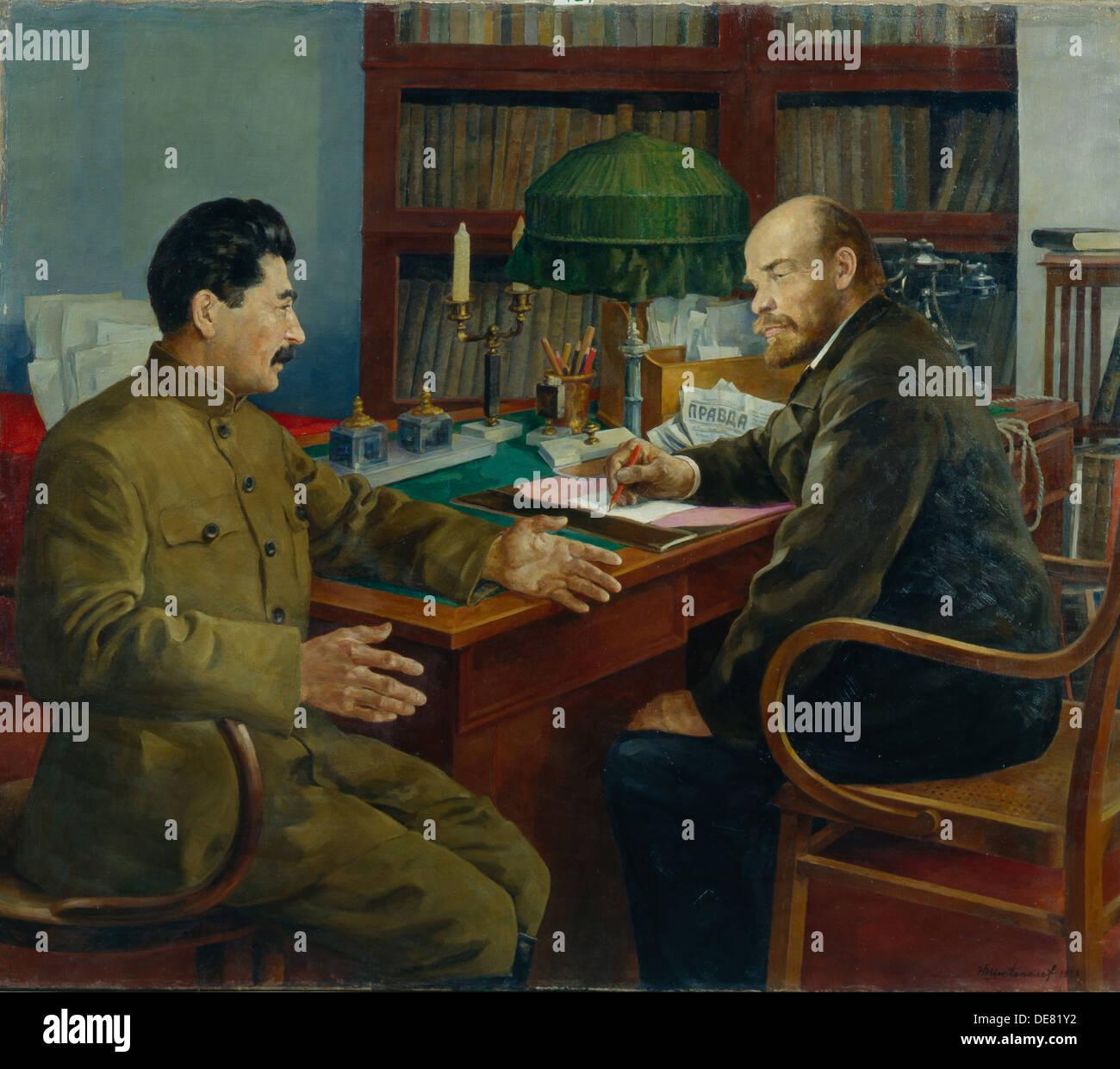 Lenin and Stalin, 1938. Artist: Shestopalov, Nikolay ...