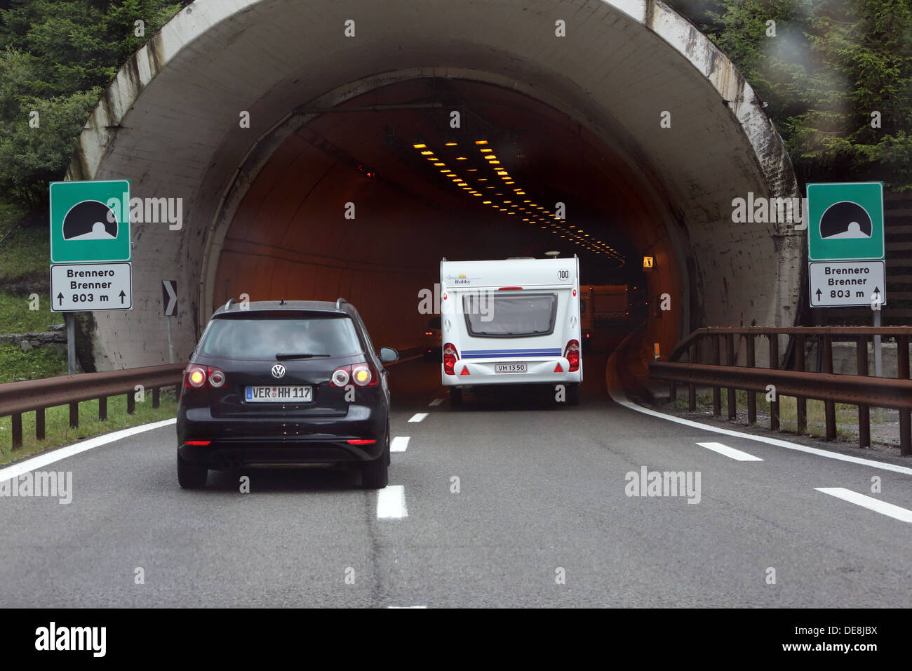 brenner italy car at the entrance to the tunnel on the a22 brenner stock photo royalty free. Black Bedroom Furniture Sets. Home Design Ideas