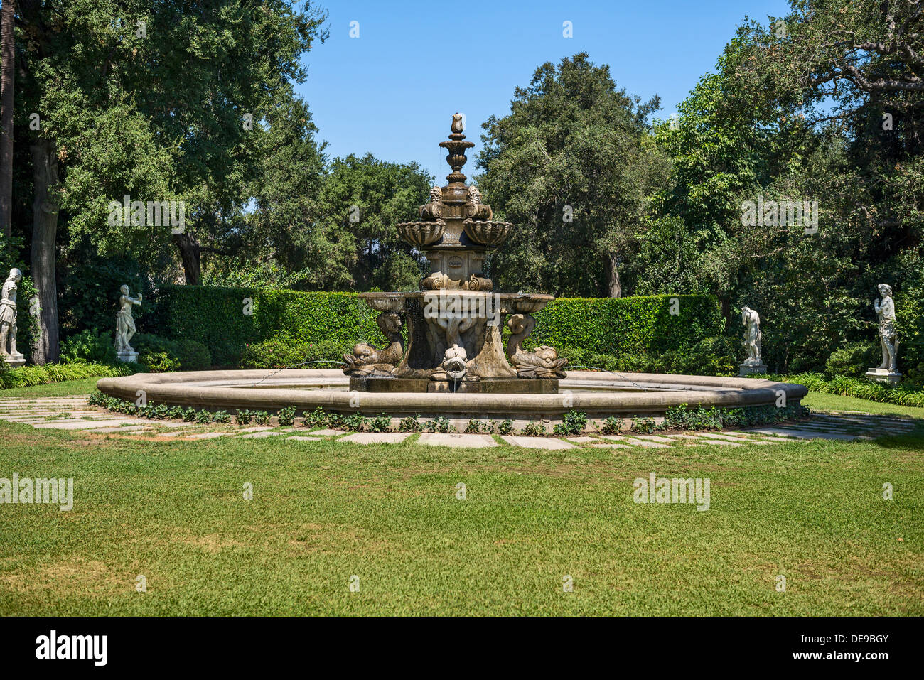 Iconic Large Fountain At The Huntington Library And Botanical Stock Photo Royalty Free Image