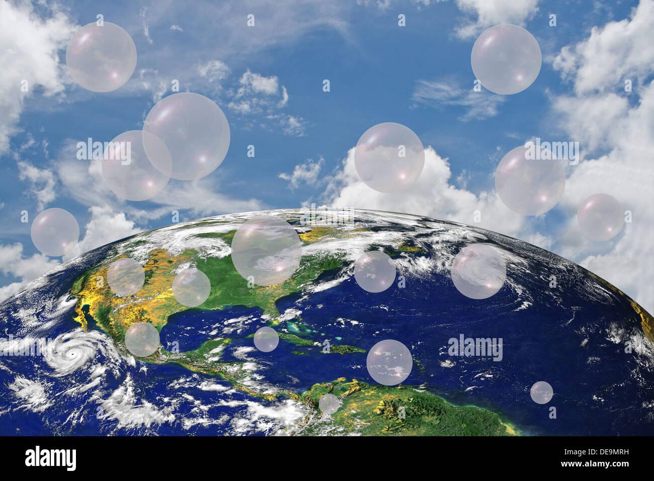 Air Oxygen Bubble Earth World Map Ball Sky Blue Cloude Air Stock - World sunlight map