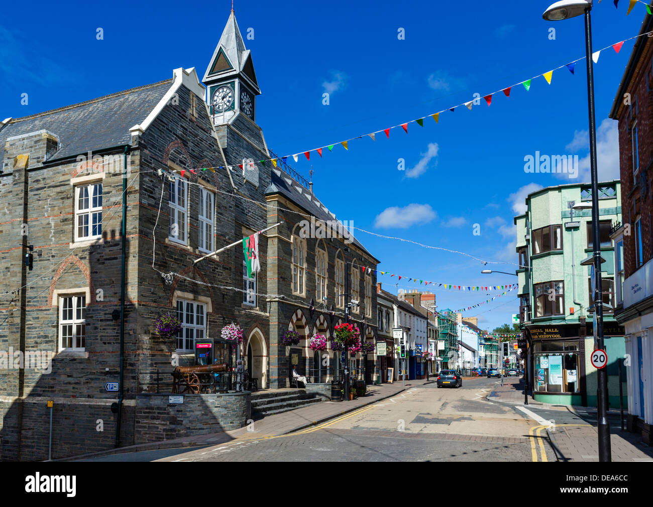 Shops on the High Street with the Guildhall to the left, Cardigan ...