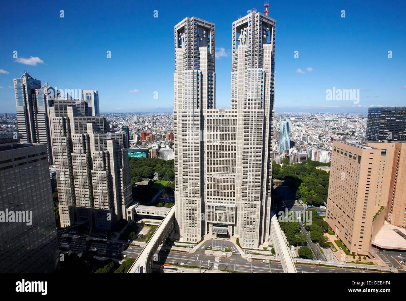 Tokyo Metropolitan Government building, Shinjuku district, Tokyo Stock Photo,...