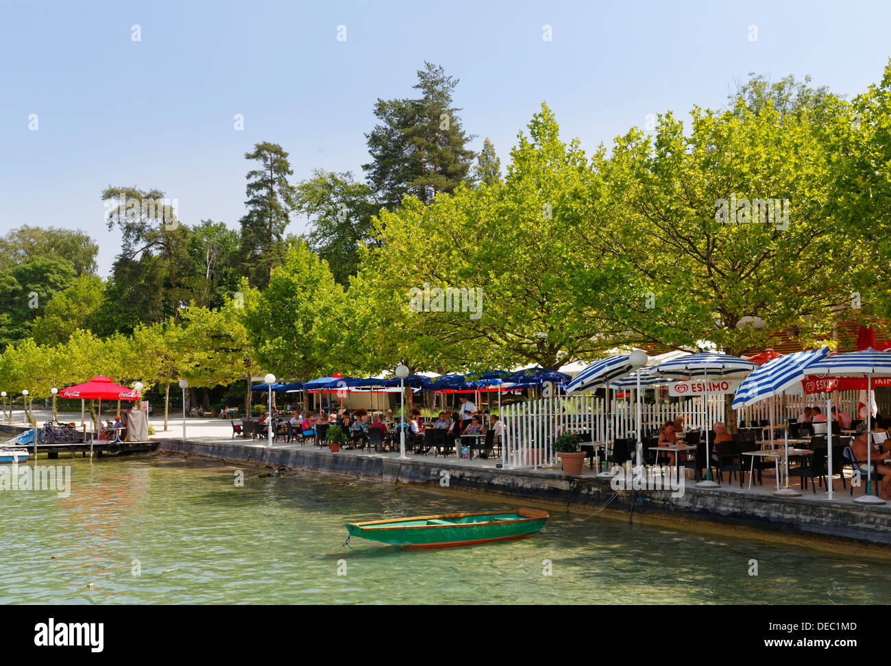 restaurant on the bathing promenade of lake woerthersee p rtschach stock photo royalty free. Black Bedroom Furniture Sets. Home Design Ideas