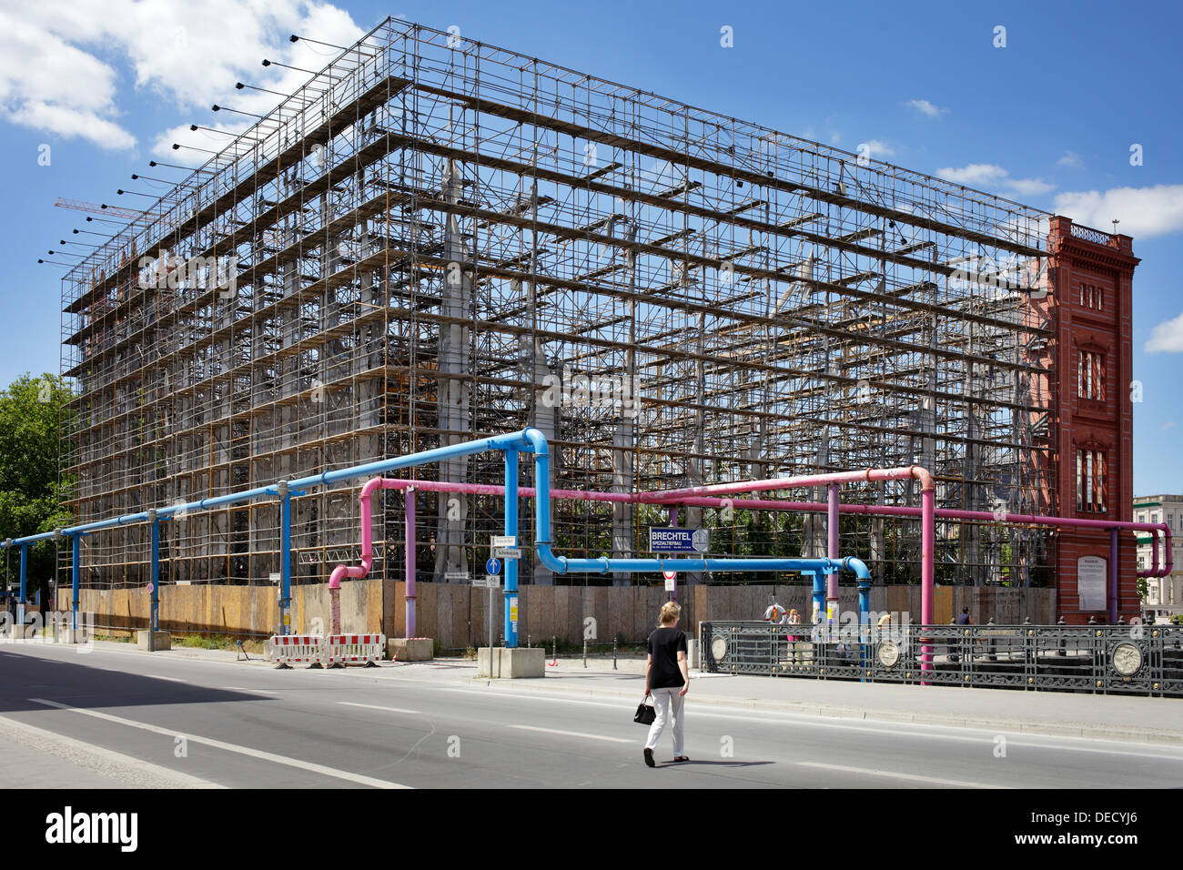 Berlin, Germany, the scaffold without the Bauakademie tarp ...