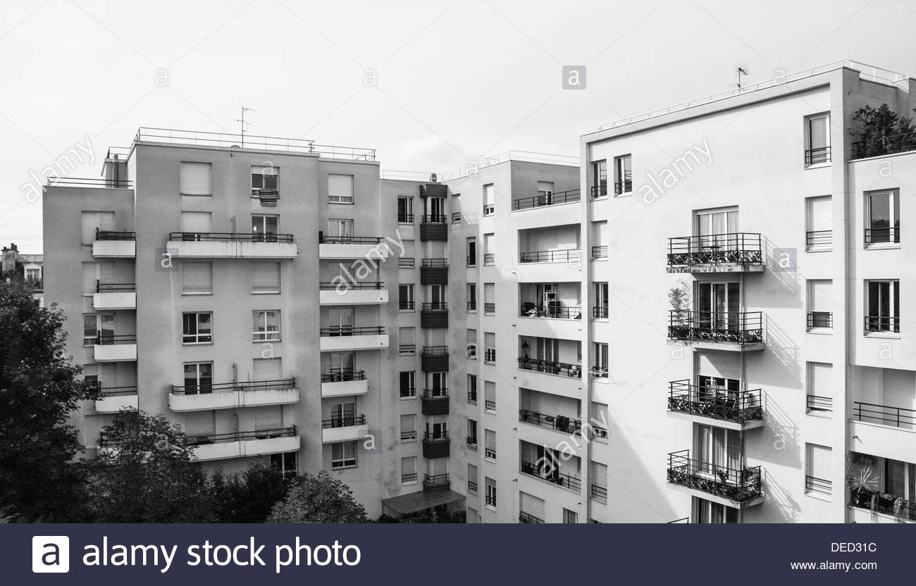 French Apartments And Garden Area Viewed From The Hotel, Adagio City  Aparthotel In Buttes Chaumont, Paris, France