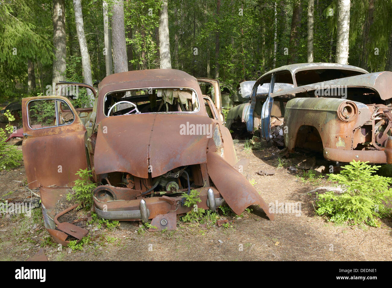 Old and rusty junkcars at junkyard in nature. Kyrkömosse, Småland ...