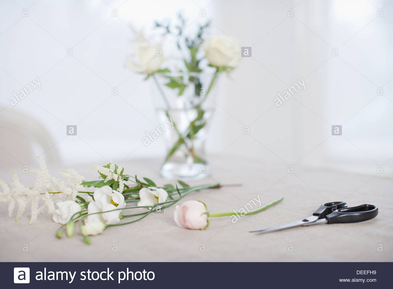 Flowers and vase choice image vases design picture flowers and vase on table with scissors stock photo 60555861 alamy flowers and vase on table reviewsmspy