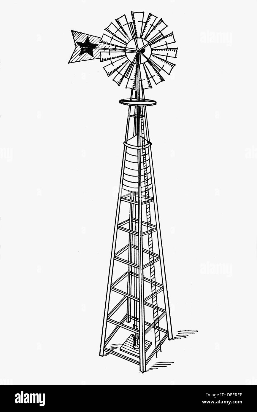 Water pumping windmill Antique drawing ca 1900 Stock Photo