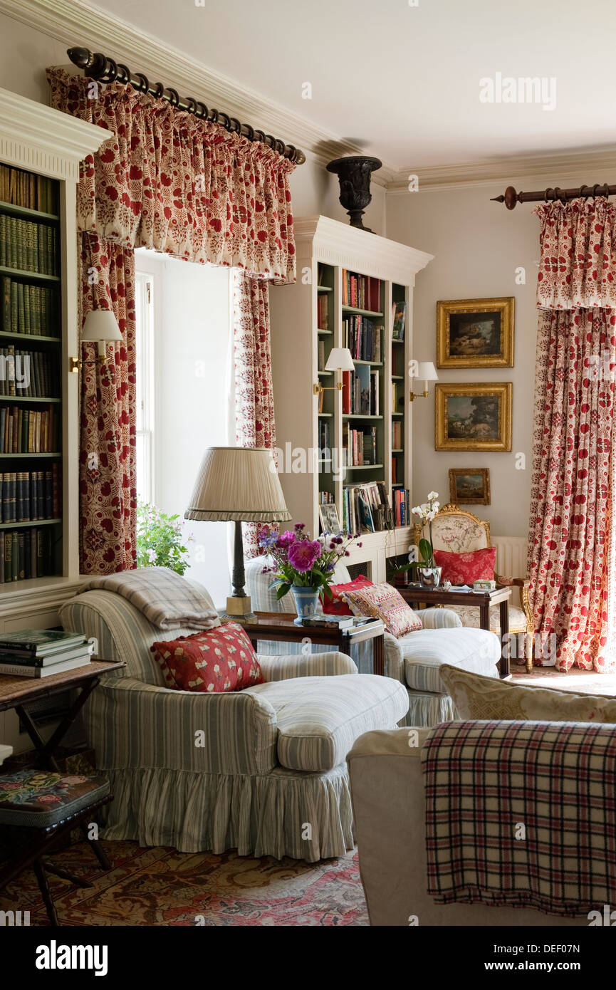 Red patterned curtains living room - Country Estate Living Room With Red Patterned Curtains