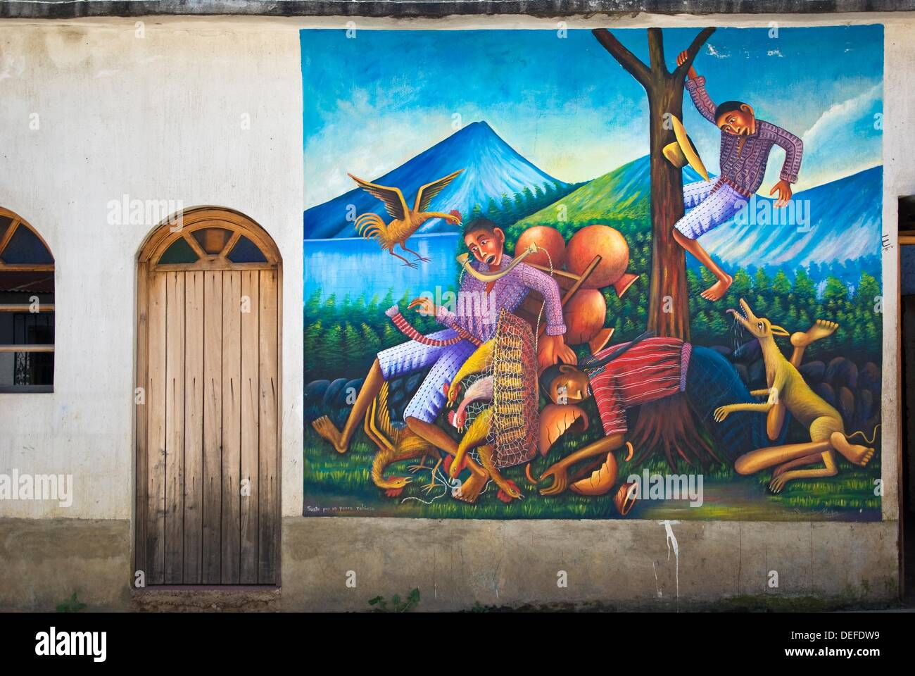 Mural Painting On The Outside Wall Of A House In San Juan La Laguna,  Sololá, Guatemala Great Pictures