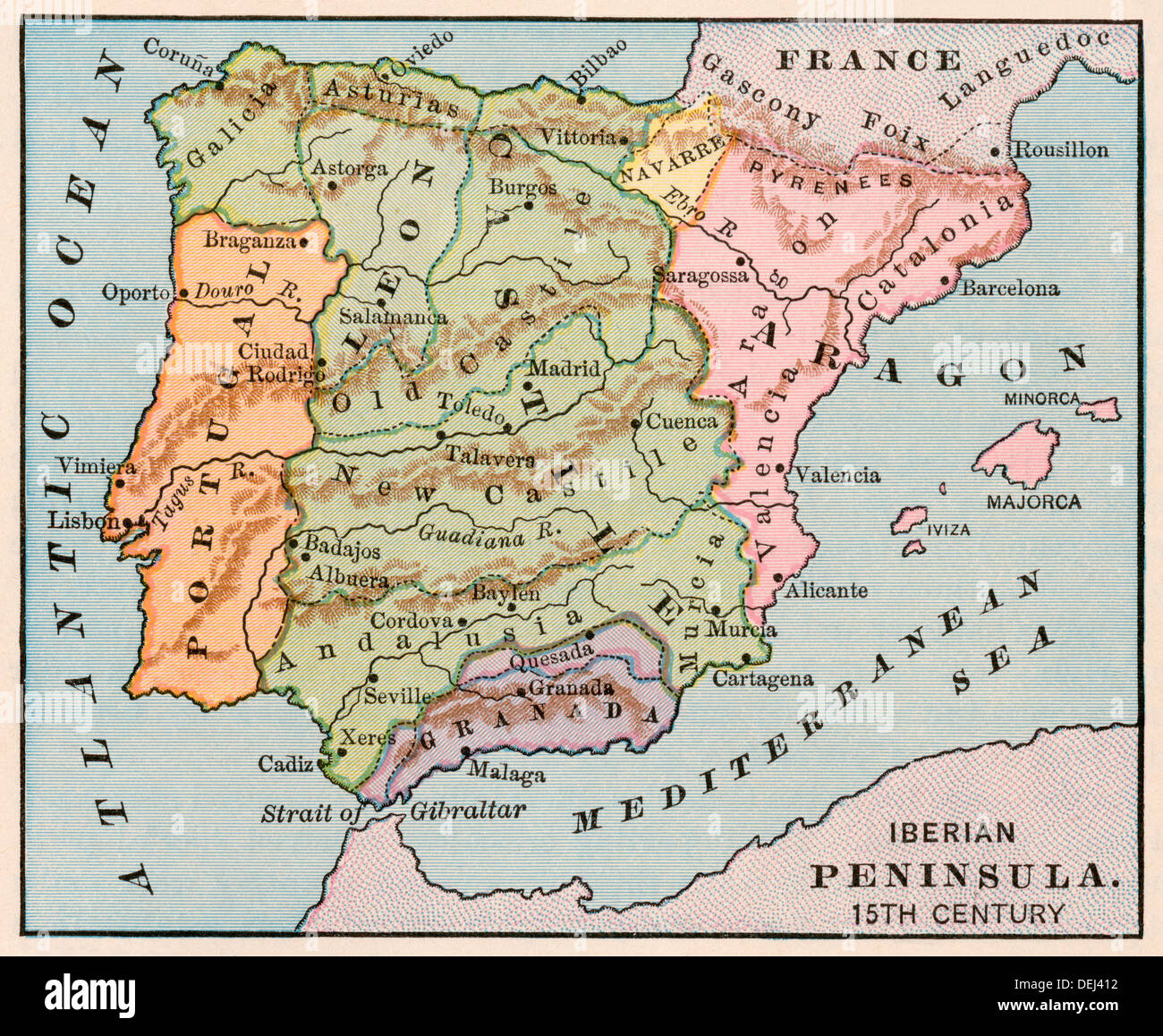 Portugal Map Stock Photos Portugal Map Stock Images Alamy - Portugal map iberian peninsula