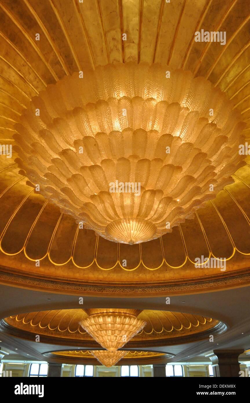 Abu Dhabi, United Arab Emirates: chandeliers at The Emirates ...