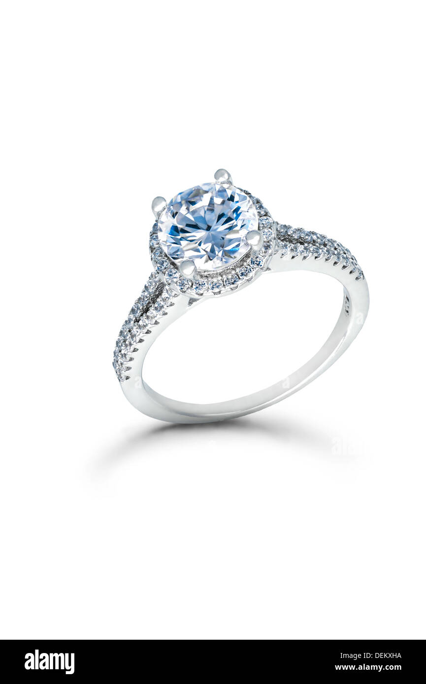 Silver Wedding or Engagement Ring with Blue Diamonds isolated on ...