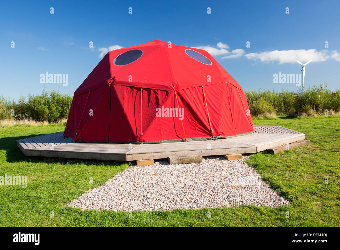 A large framed dome tent at Mount Pleasant Ecological Park Porthtowan Cornwall UK & A large framed dome tent at Mount Pleasant Ecological Park Stock ...
