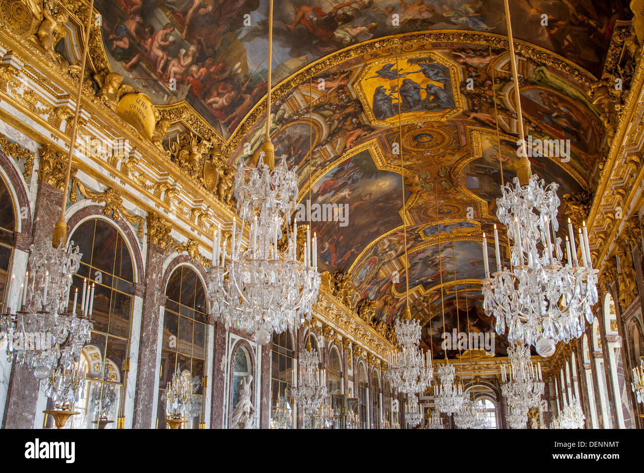 Ceiling and chandeliers lustre in the hall of mirrors cahteau ceiling and chandeliers lustre in the hall of mirrors cahteau de versailles france aloadofball Gallery