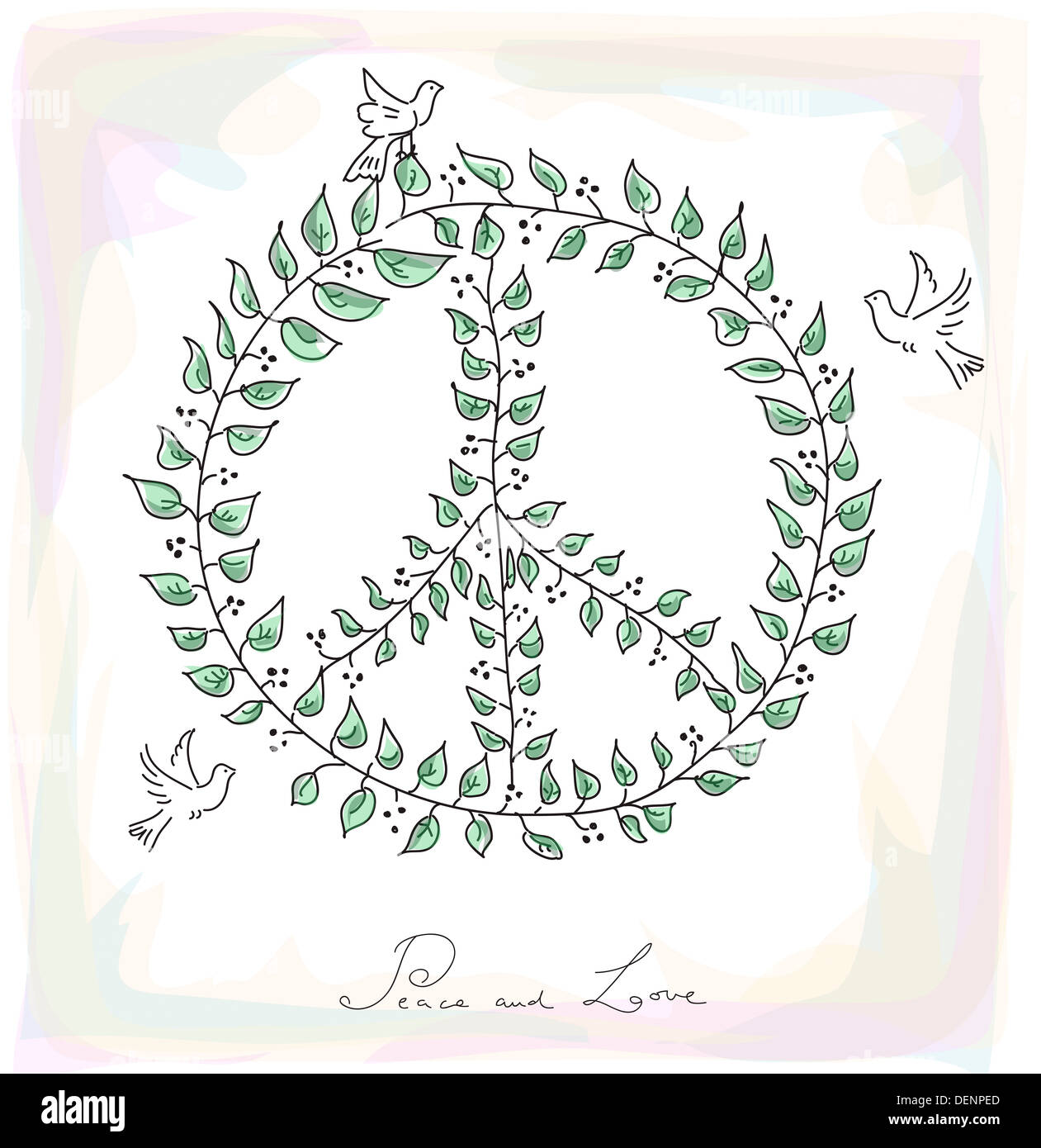 Sketch style peace and love composition leaf made symbol and dove sketch style peace and love composition leaf made symbol and dove birds over texture background eps10 vector file organized in layers for easy editi buycottarizona