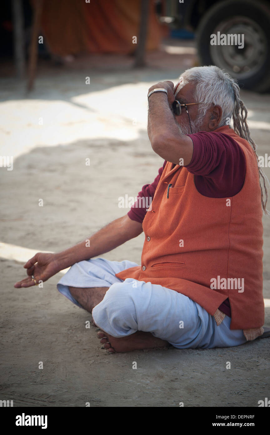 Sadhu Doing Yoga At Maha Kumbh Allahabad Uttar Pradesh India