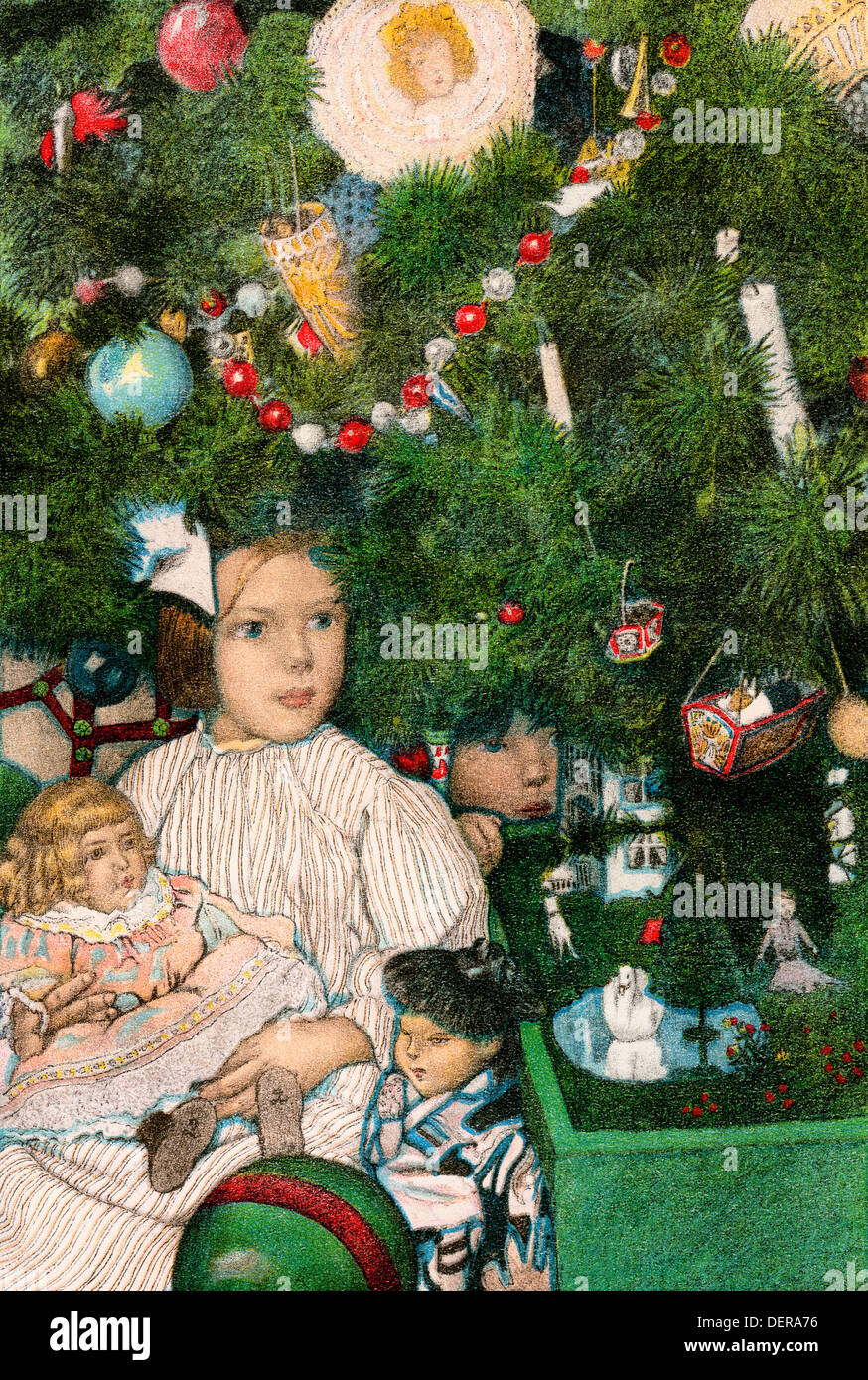 Toys Under Christmas Tree : Children with toys under a christmas tree early s