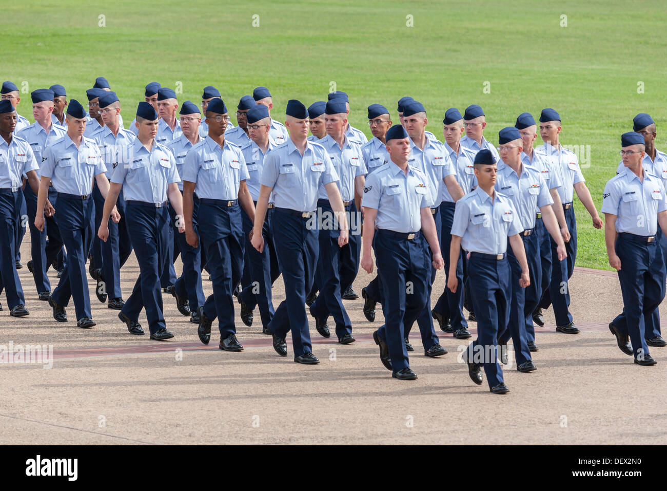 Flight Of Airmen In Dress Blues Marching During United