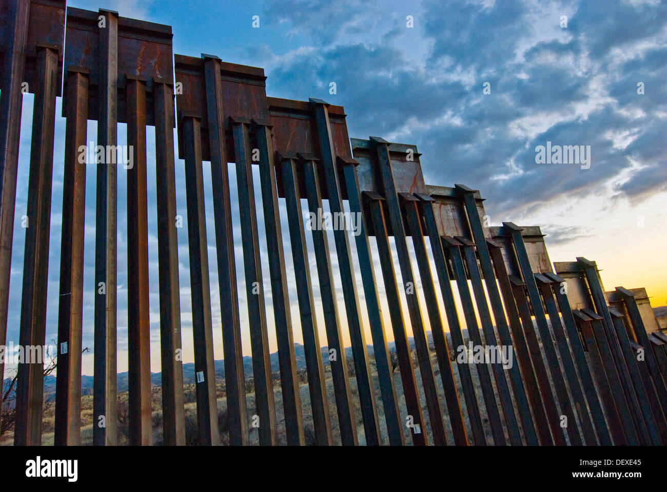 Close Up Of United States Border Fence Us Mexico Border East Of Nogales Arizona Usa