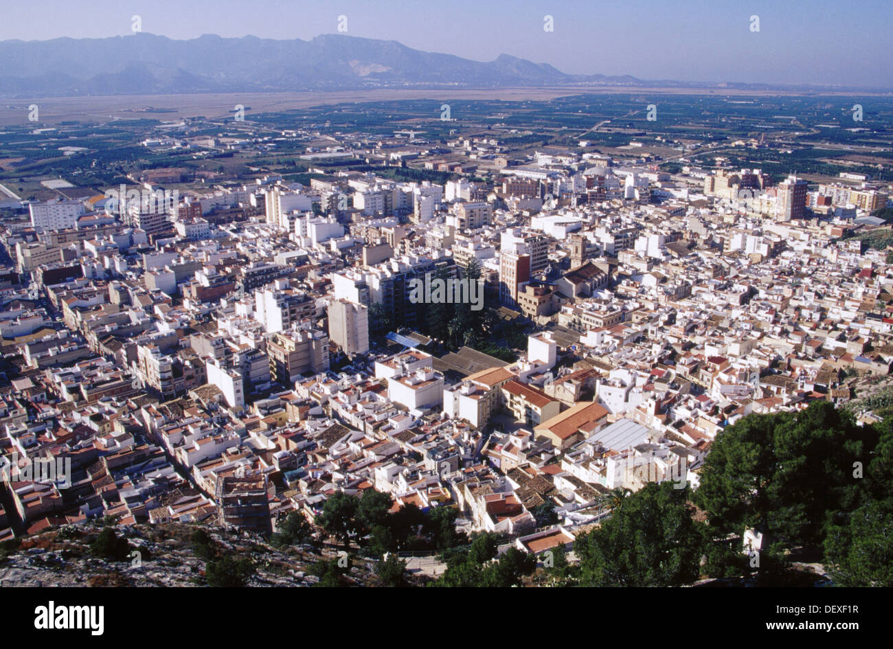aerial view of cullera s old town valencia spain stock photo royalty free image 60818851 alamy. Black Bedroom Furniture Sets. Home Design Ideas