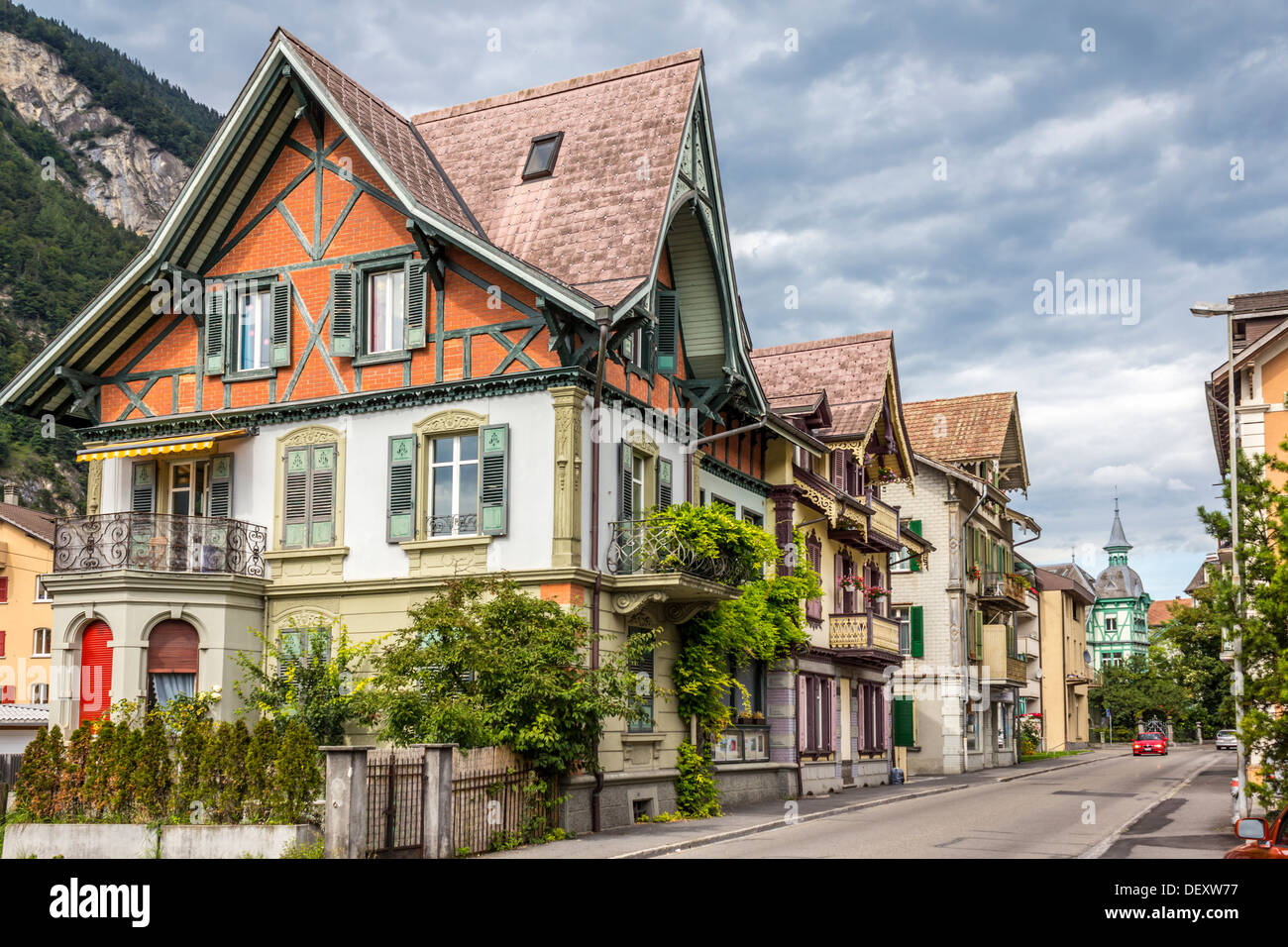 Traditional Swiss Houses In Interlaken Switzerland Stock