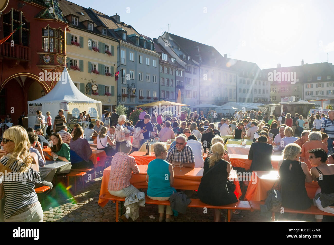 wine festival in muensterplatz square freiburg im breisgau black stock photo 60835052 alamy. Black Bedroom Furniture Sets. Home Design Ideas