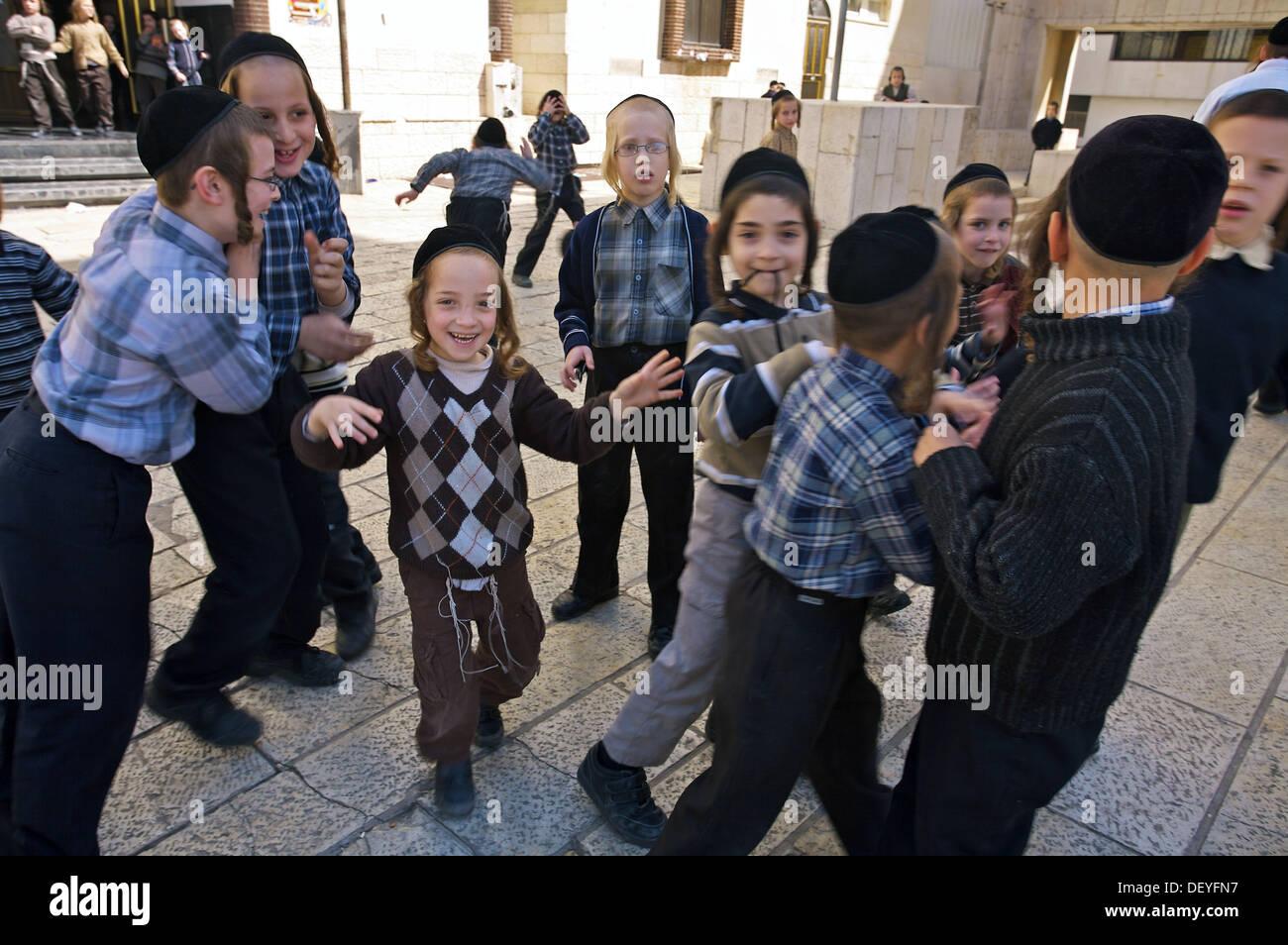 Orthodox Jewish children, Tel Aviv, Israel Stock Photo, Royalty ...