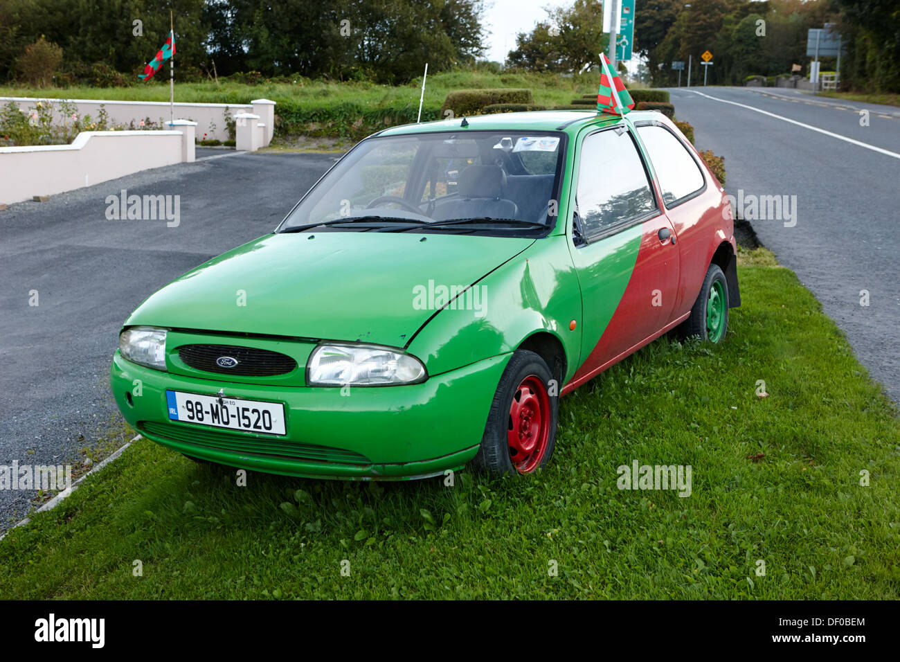 Stock Photo - old ford fiesta car painted in county mayo red and green gaa colours at the side of the road republic of ireland & old ford fiesta car painted in county mayo red and green gaa ... markmcfarlin.com