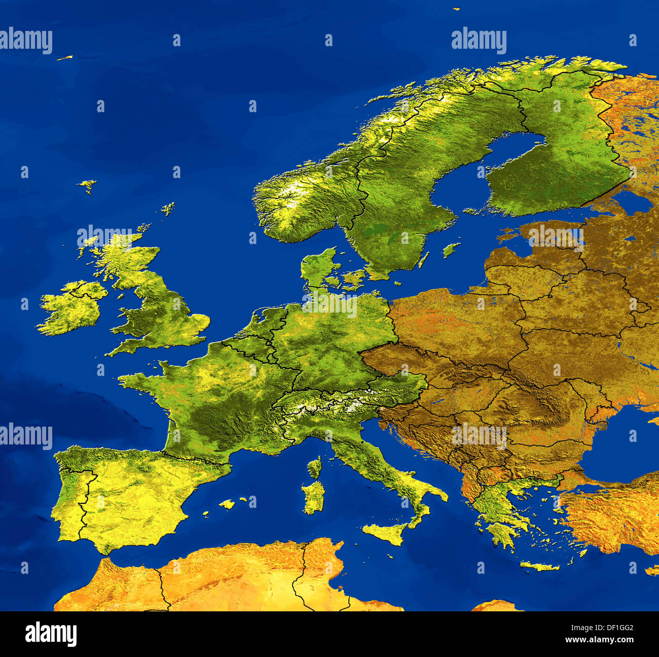 Satellite Image Map Of Europe Showing Borders And Topographic - Europe satellite map