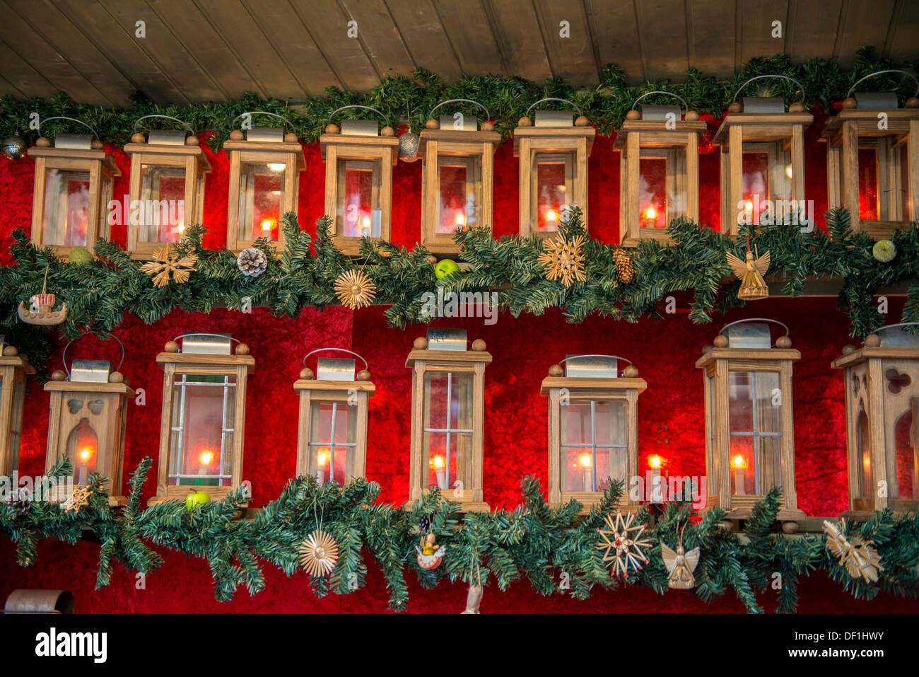 Lanterns for sale at Christmas market, Rothenburg, Germany Stock ...