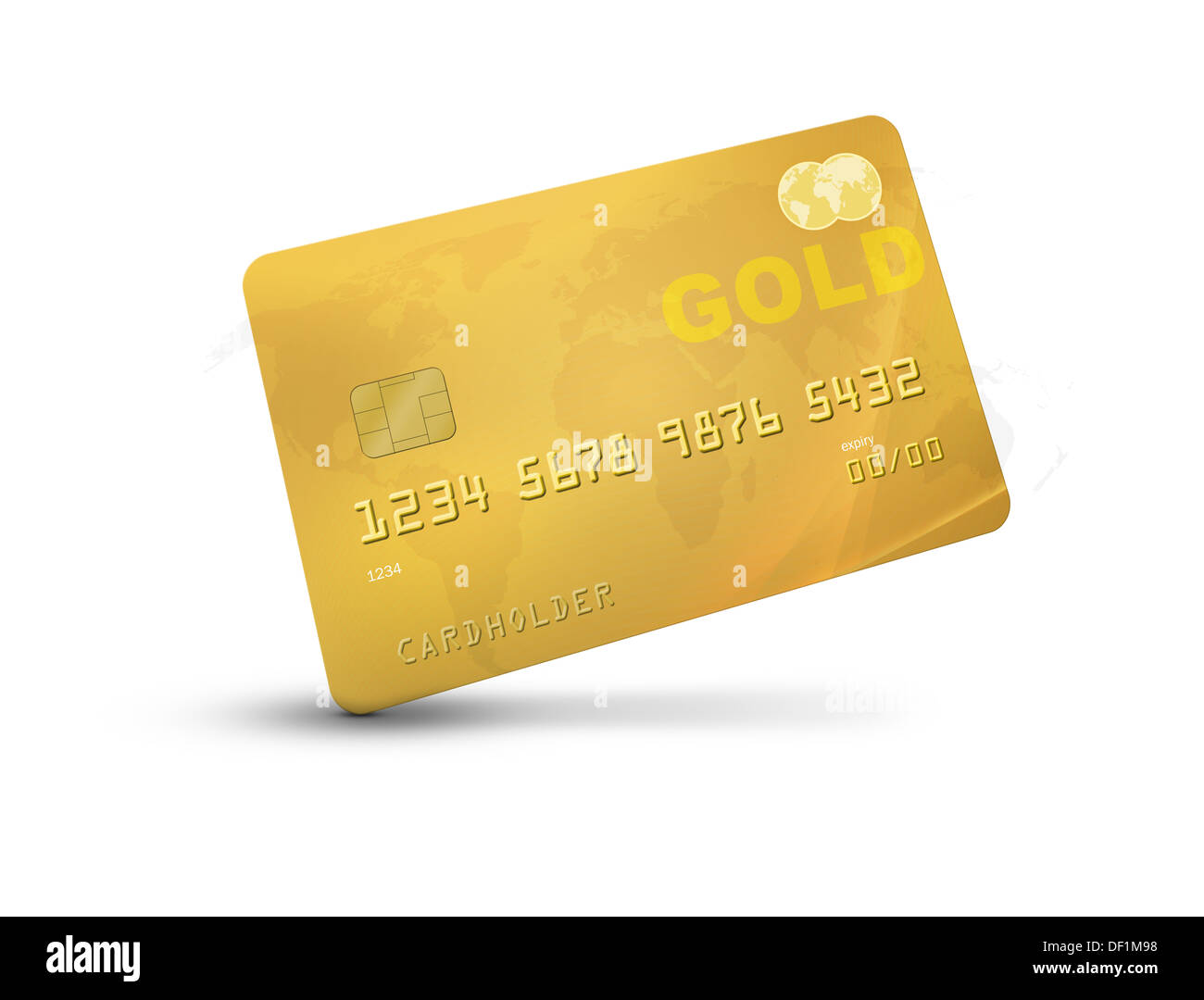 Gold credit card or debit card representing rich or luxury with ...