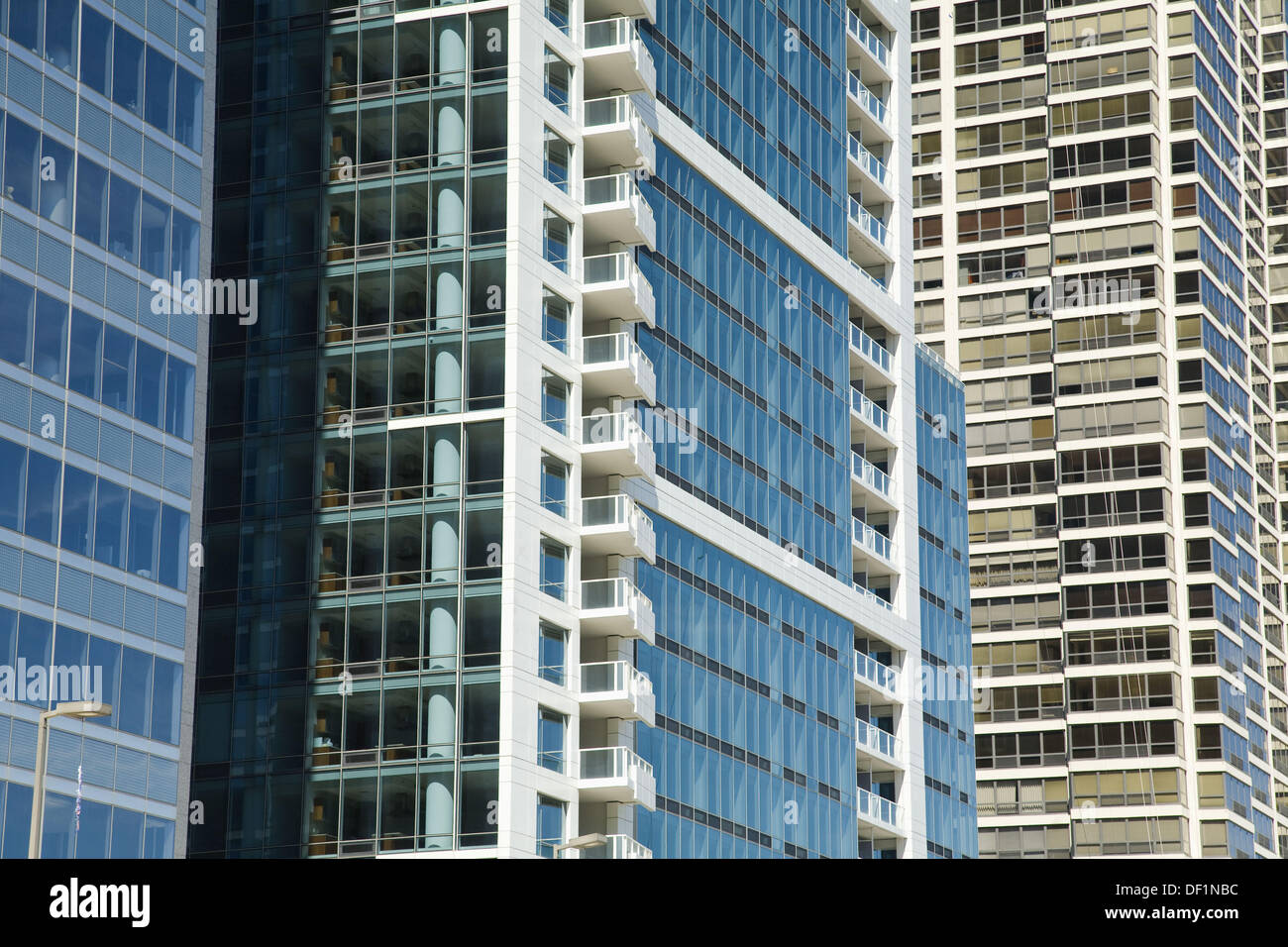Modern Architecture Chicago windows of highrise residential buildings, compressed view, modern