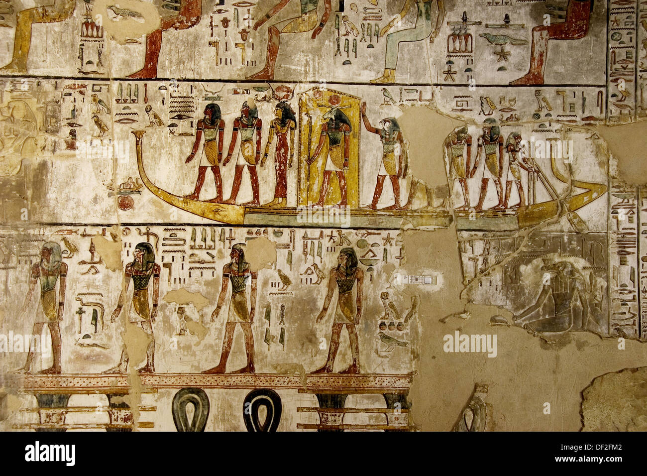 Mural paintings in the tomb of seti i valley of the kings for Egypt mural painting