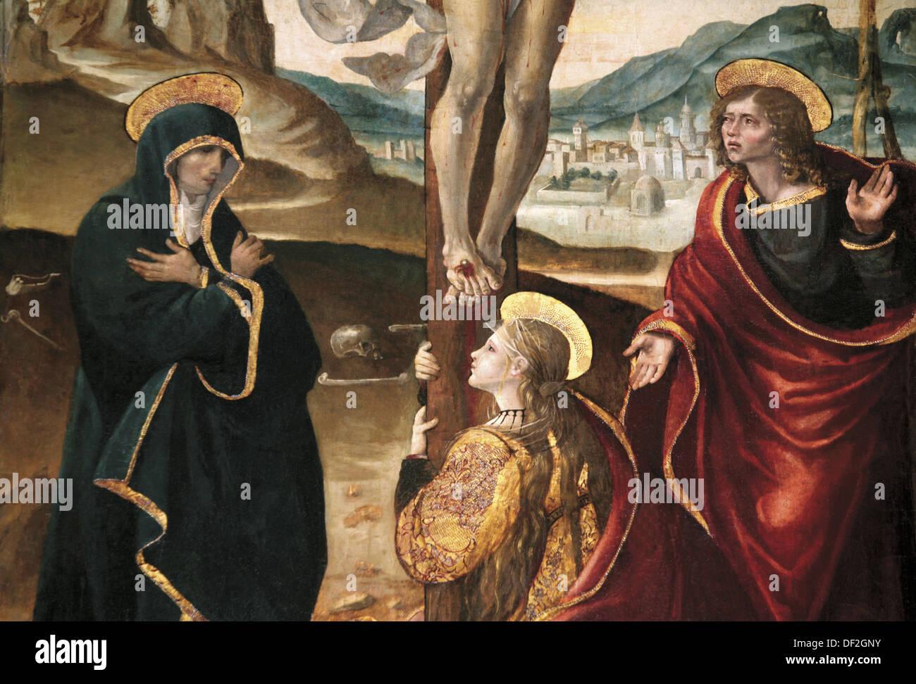 virgin mary mary magdalena and saint john at the feets of jesus