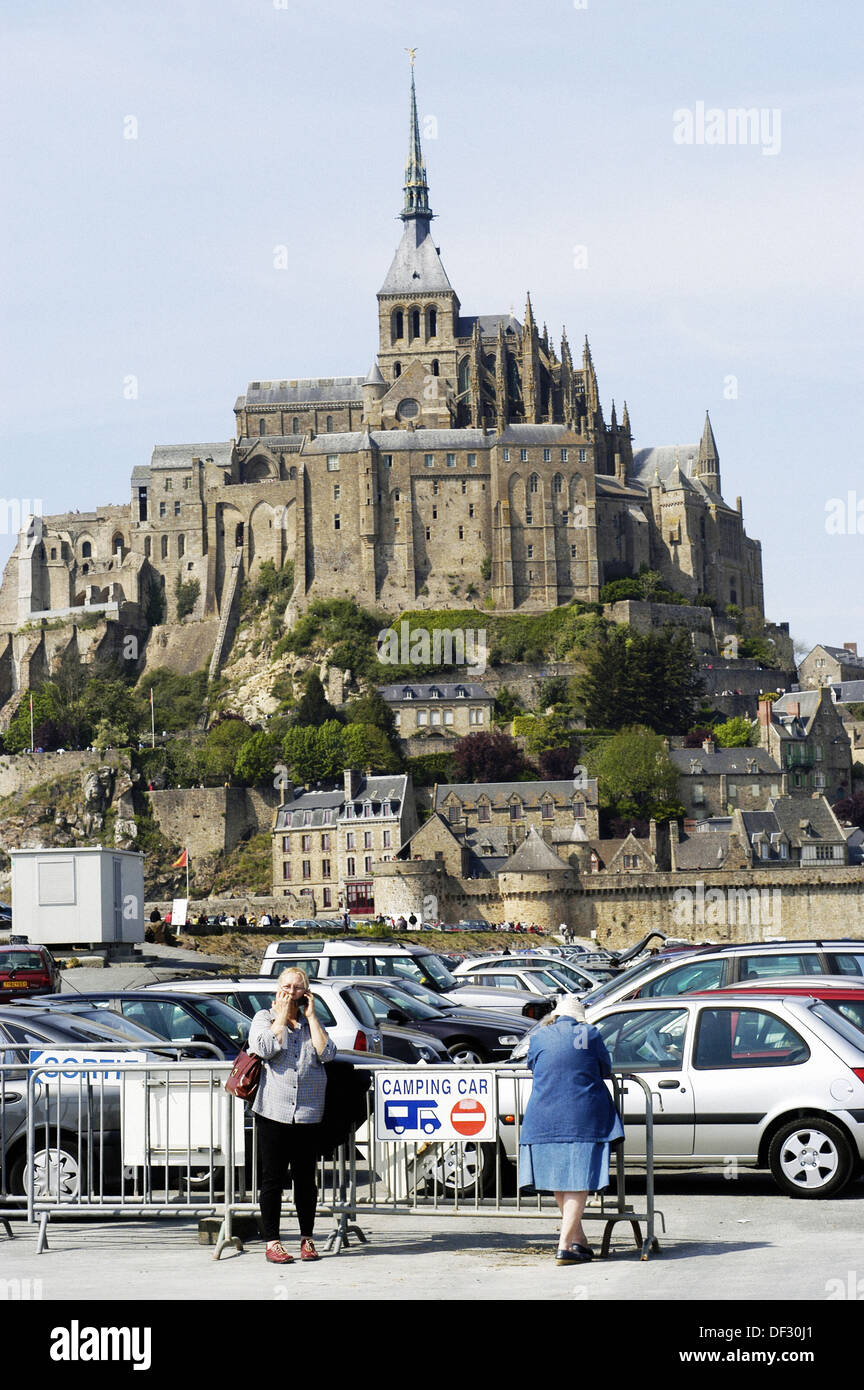 parking lot in front of mont michel normandy stock