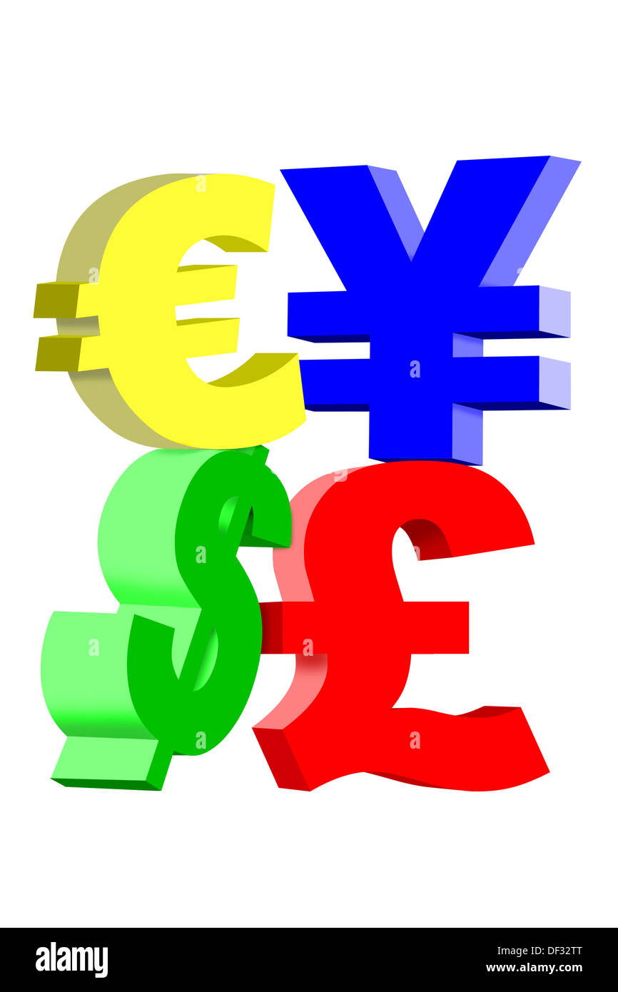 International currency symbols dollar yen british pound and international currency symbols dollar yen british pound and euro isolated on a white background biocorpaavc Images