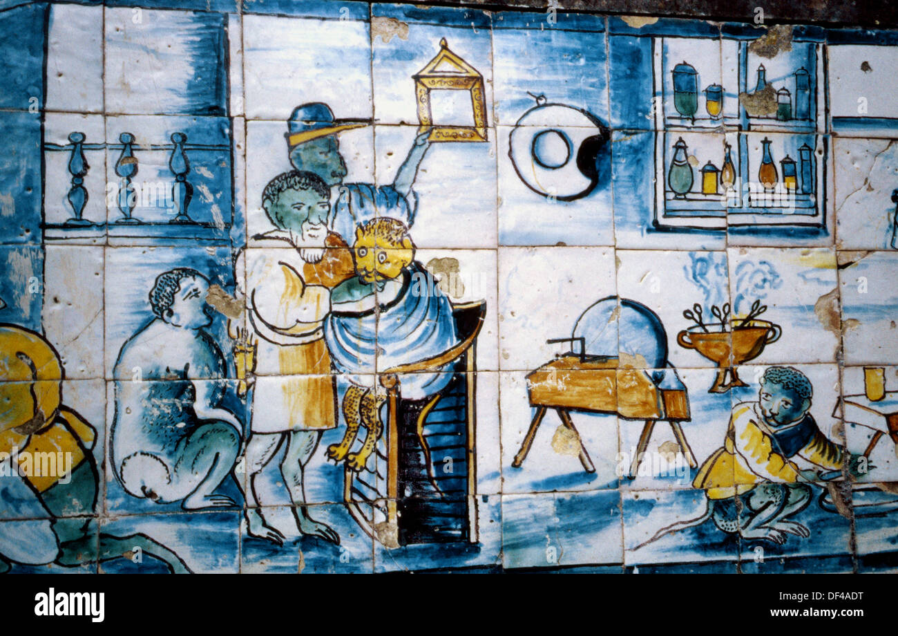 Azulejos palacio de los marqueses de fronteira lisbon for Restaurant los azulejos df