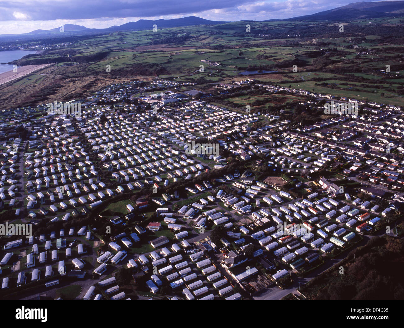 Morfa Bychan Aerial View Of Large Caravan Park With Hundreds Mobile Homes And Village Llyn Peninsula North Wales UK