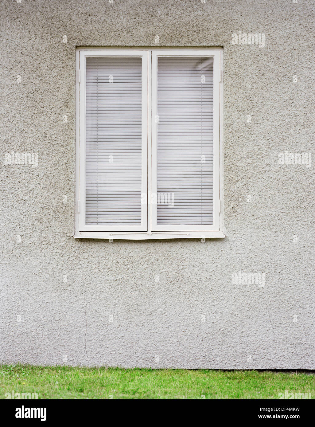 Exterior Of Double Window With White Venetian Blinds On Gray Wall Stock Photo Royalty Free