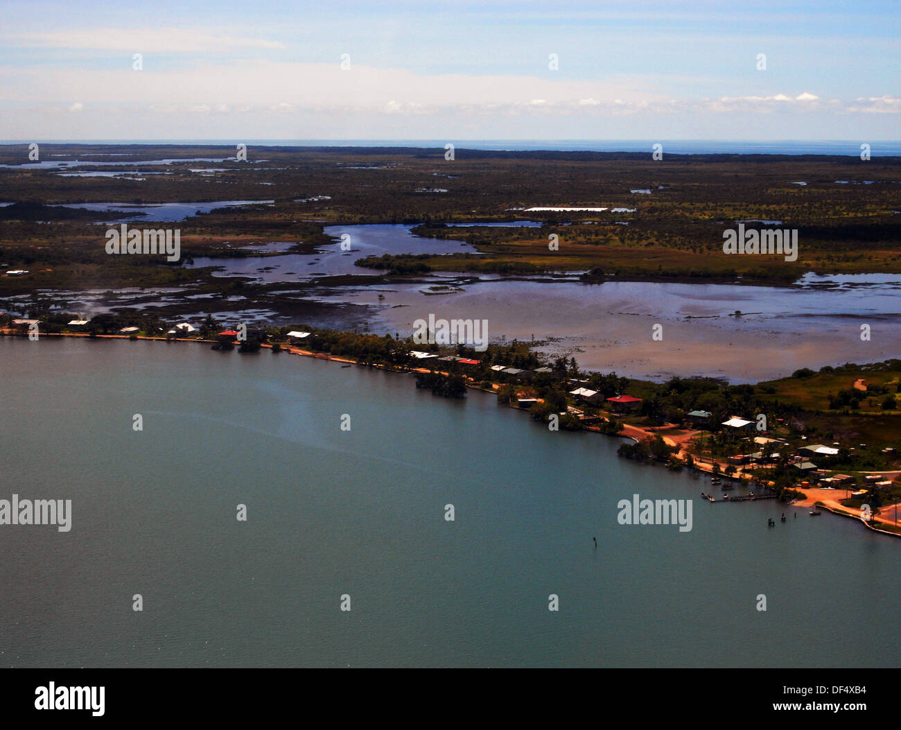 Saibai Island: Aerial View Of Saibai Island During King Tide Inundation