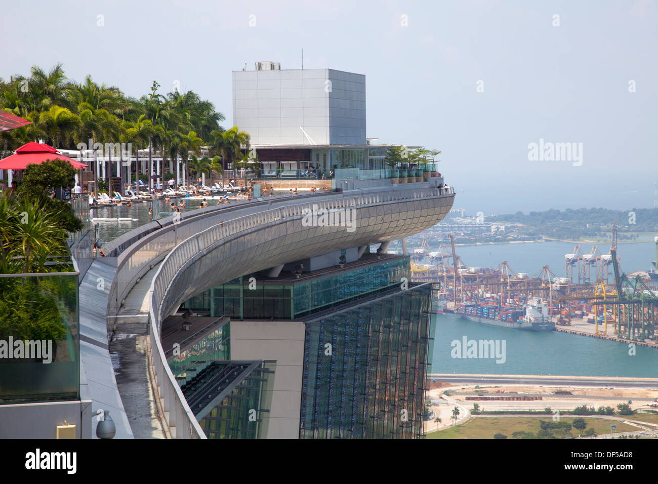 Marina Bay Sands Hotel Roof Pool Singapore Asia Destination View Stock Photo Royalty Free Image