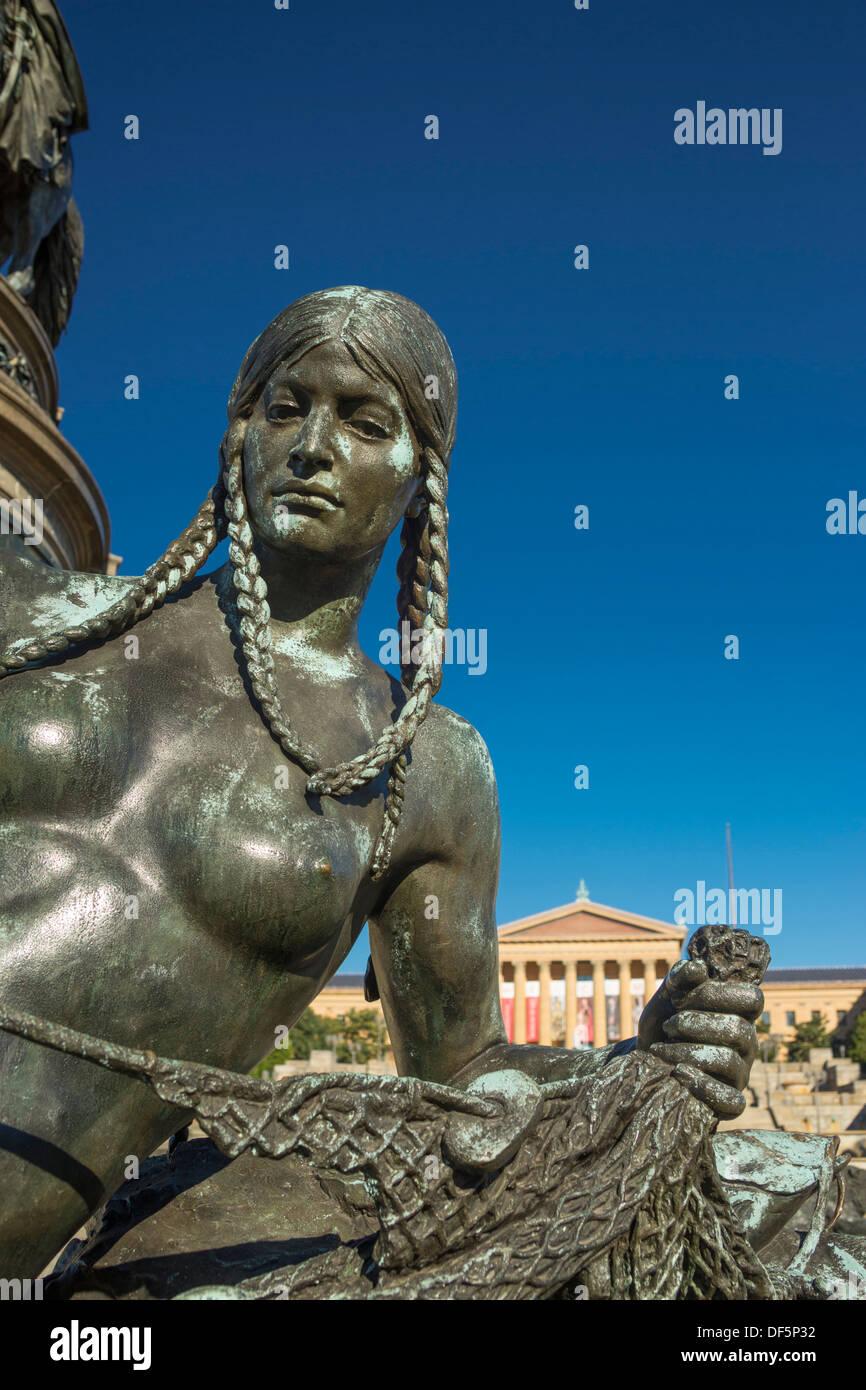 native american fisherwoman sculpture washington monument eakins