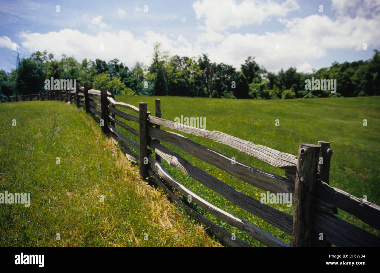 An old split rail fence borders the blue ridge parkway