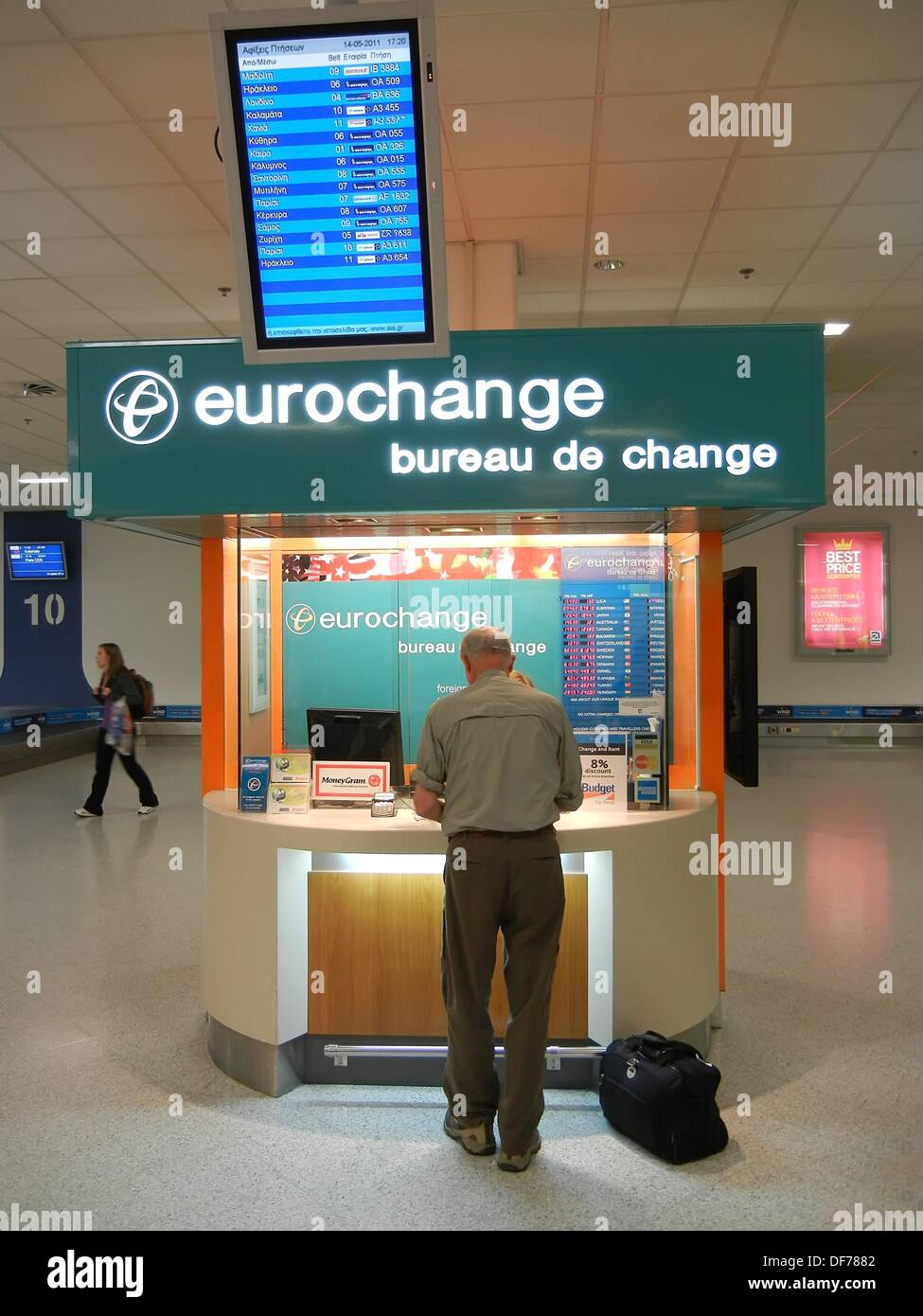 currency exchange booth in international airport stock photo 61011106 alamy. Black Bedroom Furniture Sets. Home Design Ideas
